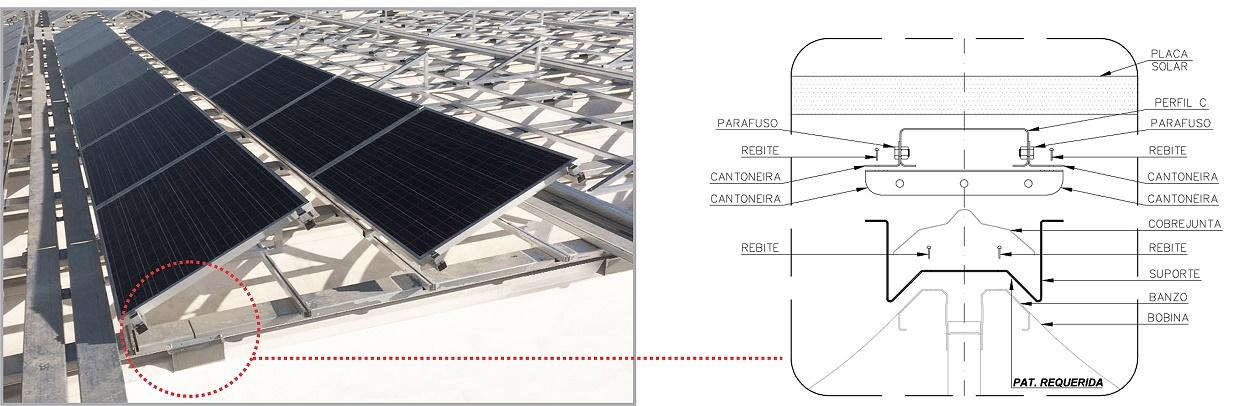 Detalhe do suporte universal na fixação de painéis fotovoltaicos.